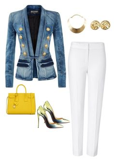 Brunch, Bags, and The Boss by styledbytiffanyd on Polyvore featuring polyvore, fashion, style, Balmain, ESCADA, Christian Louboutin, Yves Saint Laurent, GUESS and Chanel