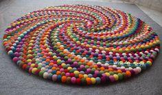Colorful felt ball round rug Multi color nursery carpet Handmade Unique Design Rug Home and Kids Room Decoration Area Rugs Mat - teppich Diy Carpet, Rugs On Carpet, Hall Carpet, Cheap Carpet, Stair Carpet, Tapetes Diy, Felt Ball Rug, Pom Pom Rug, Pom Pom Crafts