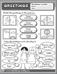 Resultado de imagen para greetings and introductions worksheets for kids English Activities For Kids, English Teaching Resources, English Worksheets For Kids, Teaching Spanish, Kids English, English Lessons, Learn English, English Classroom, Classroom Language