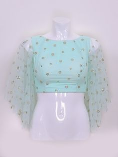 Green fabric netted blouse designs and styles Netted Blouse Designs, Choli Blouse Design, Saree Blouse Neck Designs, Stylish Blouse Design, Fancy Blouse Designs, Bridal Blouse Designs, Neckline Designs, Net Blouses, Sleeves Designs For Dresses