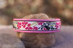 Blossoms Hot Pink and Cream — Collar Addict. Quality, handmade dog collars.