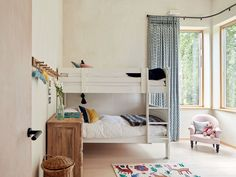 Double set of bunk beds either side of the corner window with a child's chair and a fun rug Devon House, Flat Bed, Cool Rugs, Open Plan Living, King Beds, Renting A House, Bed And Breakfast, Devon England, Interior Design