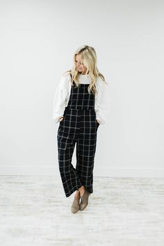 Black + White Overall Jumpsuit | ROOLEE