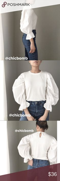 "Basic drama chic top White Basic statement top. With dramatic sleeves. High grade Polyblend fabric. 5%spandex fabric on base. I'm wearing size s for cover shot. Size S length: 23"" bust 34"". Size M : bust 35"", length 23"". Size L : bust 36"", length 24"" . Comfortable stretch. Style #Zara #alexachung CHICBOMB Tops Blouses"