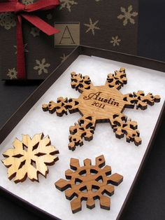 Babys First Christmas Ornament Personalized Wood Snowflake with Custom Name Engraving . Custom Ornament Gift Box Set with Monogram Box on Etsy, $24.95