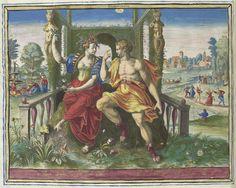Raphaël Sadeler (I) | Sanguinisch temperament, Raphaël Sadeler (I), 1583 | Flora of de personificatie van de lente zit naast een jeugdige man voor een pergola. Ze verbeelden het sanguinisch temperament van de levensgenieters. Linksachter enkele liefdesparen bij een fontein. Rechtsachter dansende paren. Bovenaan links, midden en rechts tekens van de dierenriem: Tweelingen, Weegschaal en Waterman, die passen bij het element lucht. Onder de voorstelling een vierregelig vers in het Latijn. Deze…