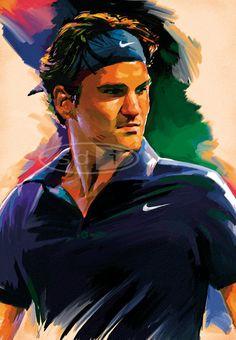 Roger Federer tennis sports art poster by ScottDawsonArtPrints, $60.00