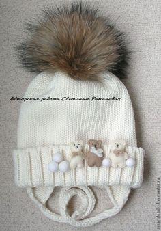 """Купить Детская зимняя шапочка с меховым помпоном """"Зимняя прогулка"""" - детские шапки, детская шапка Knitted Hats Kids, Baby Hats Knitting, Crochet Baby Hats, Knitting For Kids, Crochet For Kids, Crochet Yarn, Loom Knitting Patterns, Crochet Patterns, Crochet Gloves"""