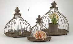 Hanging Dome Candle Holders~Metal Planters~S/3 French Country Wedding Decor