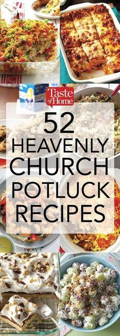 52 Heavenly Church Potluck Recipes This is so great amazing apps, casseroles, slow cooker dishes and more! Church Potluck Recipes, Main Dish For Potluck, Easy Potluck Recipes, Cooking Recipes, Good Potluck Dishes, Easy Dishes For Potluck, Work Potluck, Potluck Appetizers, Potluck Slow Cooker Recipes