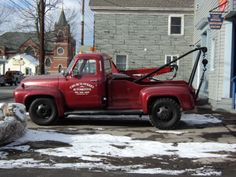 A VERYcool old 55 Ford F4 wrecker in Honesdale PA. Photo by JD George. -Providing #Tow truck insurance for over 30 years - www.TravisBarlow.com