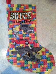 My first attempt at designing a counted cross stitch project!  Lego stocking
