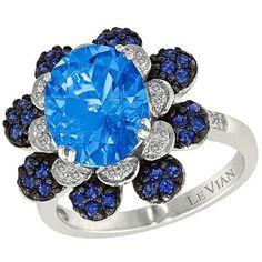 Le Vian Azure Blues Vanilla Diamond, Swiss  Topaz, Blueberry Sapphire... ($1,000) ❤ liked on Polyvore featuring jewelry, blue, blue topaz jewelry, diamond jewelry, diamond fine jewelry, blue diamond jewelry und flower jewelry
