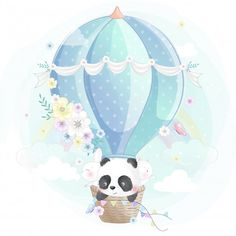 Cute little panda, bunny and kitty in the air balloon Premium Vector Ballon Illustration, Cute Illustration, Watercolor Illustration, Niedlicher Panda, Cute Panda, Cute Drawings, Animal Drawings, Cute Images, Cute Pictures