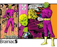 Brainiac 5 of the Legion of Super-Heroes.  Art by, from left to right, James Sherman, Keith Giffen, Mike Grell and Dave Cockrum.