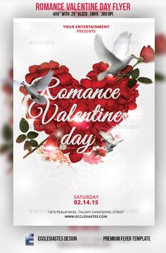 Romance Valentine Day Flyer — Photoshop PSD #valentine #new • Available here → https://graphicriver.net/item/romance-valentine-day-flyer/10054024?ref=pxcr
