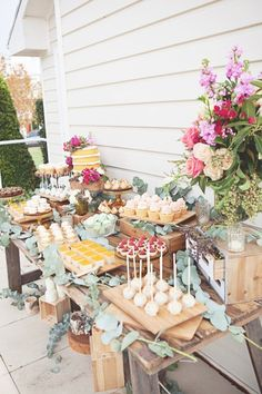 Gorgeous Rustic Bridal Shower via Karas Party Ideas Cakes favors printables recipes desserts and more 57 Rustic Food Display, Dessert Display Table, Fiesta Shower, Garden Bridal Showers, Garden Shower, Bridal Shower Cakes Rustic, Bridal Shower Desserts, Bridal Shower Party Favor, Bridal Shower Recipes