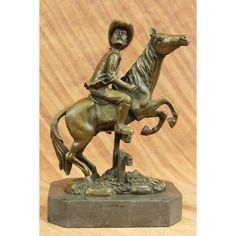ON SALE !!! Signed Hot Cast Cowboy Western Art Old West Bronze Sculpture Marble Figurine Nr...A Great American Classic, This Statue Is Of A Cowboy On Horse Moving Fast Through The Wild Wild West! The Horse Is Standing High On His Hind Legs Ready To Gallop With Some Serious Speed. The Cowboy Is Dressed In The Traditional Cowboy Hat, Chaps, And Handkerchief. He Even Has A Whip In His Right Head Ready To Crack In Order To Gain Speed. Creating Using The Lost Wax Method, This Statue Has No ...