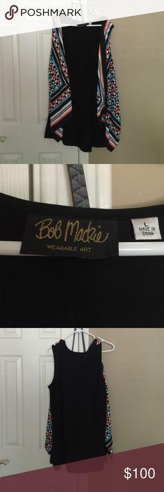 Bob Mackie Wearable Art Vest, perfect! Women's large & very size versatile.  No buttons. Bob Mackie Tops