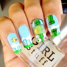 FLAPPY BIRD NAILS / AWSOME girl stuff polish .