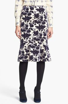 Love this Tory Burch skirt - especially the slightly flared hem  (not so much a fan of pairing it with these heavy tights, but love the skirt)