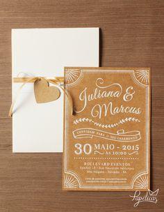 Convite de casamento vintage Giz com impressão serigráfica na cor branca. Ideal…