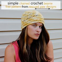 Chained beanie free #crochet hat pattern from Rescued Paw