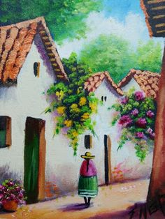 cuadros-balcones-fachadas Art Drawings Sketches, Easy Drawings, Pencil Drawings, Costa Rica Art, Landscape Drawing Easy, Time Painting, Mexican Art, Landscape Illustration, Learn To Paint
