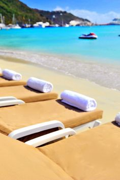 Sip a frothy cocktail or read a good book on a beach lounger. #Jetsetter Holland House Beach Hotel (St Martin)