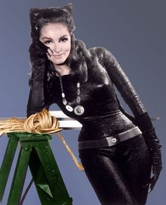 """Julie Newmar as Catwoman. (She could dance too. See her in """"SEven Brides for Seven Brothers""""and """"The Harvey Girls"""" (bigger part-co-staring with Judy Garland.)"""