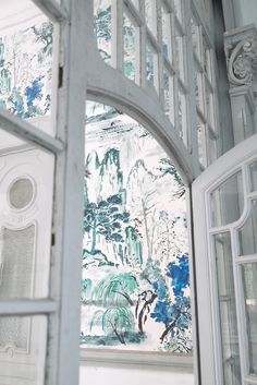 Designers Guild Jade Temple wallpaper panel  at Pedroso&Osorio  www.pedrosoeosorio.com