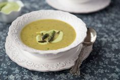 Nourishing Meals: Creamy Asparagus Soup with Cashew Dill Cream (dairy-free) because Nate is obsessed with asparagus Creamy Asparagus, Asparagus Soup, Asparagus Recipe, Primal Recipes, Real Food Recipes, Cooking Recipes, Yummy Food, Vegan Recipes, Free Recipes