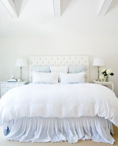 Sweet Dreams......Photographer: Kirsten Hinder  Source: House & Home July 2009 issue.  Products: Headboard, Aldo Custom; lamps, side tables, Au Lit; bedding, Shabby Chic