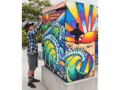 Jackson Hinkle, is the youngest of five artists who have painted metal utility boxes at select locations in San Clemente. His is outside San Clemente High School at 700 Avenida Pico. Graffiti Art, Painted Trash Cans, Installation Street Art, School Murals, Street Mural, Urban Street Art, Outdoor Art, Mural Art, Art Club