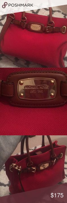 Authentic Michael Kors Purse This beautiful red stitched purse was used only a handful of times. Has brown leather and gold accents. Can be word on arm or on shoulder. Interior is clean and in pristine condition. Had multiple pockets and zippers. These photos do not do this bag justice.   No dust bag, and no lowballs. MICHAEL Michael Kors Bags Satchels
