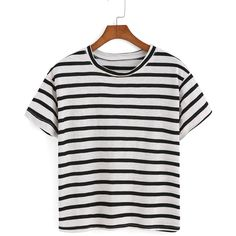 Striped Black T-shirt (€7,16) ❤ liked on Polyvore featuring tops, t-shirts, shirts, crop tops, black, black crop top, round neck t shirt, short sleeve shirts, black striped shirt and black short sleeve shirt