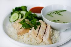 Hainanese Chicken Rice Recipe with step by step photos for the perfect rice and chicken skin texture ~ https://steamykitchen.com