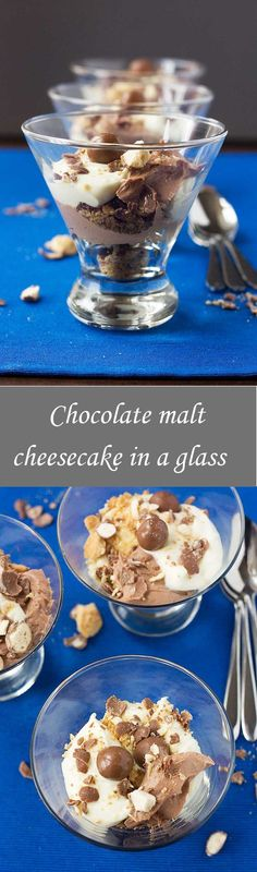 Chocolate malt cheesecake in a glass- make individual desserts, wow your guests this holiday dessert with this Delicious dessert of cream, chocolate and graham