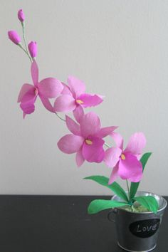 paper orchid crepe paper orchid cattleya orchid by adornflowers, $18.00