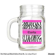 Hot Pink and Black Zebra Print Mason Jar
