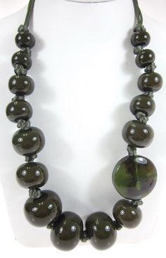 NIB EMPORIO ARMANI Olive Green Graduated Resin Beaded Chunky Toggle Necklace at www.ShopLindasStuff.com