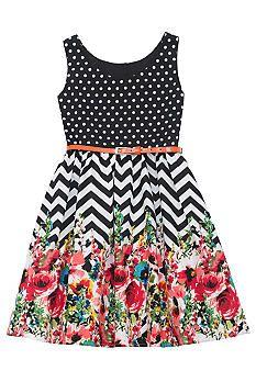 Mixed Print Chevron Dress