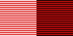 The Bezold effect is named after Wilhelm von Bezold, a German professor of meteorology. It is an optical illusion that makes colors look different depending on their relation to adjacent colors. It works with small sections of color while the opposite effect happens when contrasting large areas of color. In the example you can see that the red lines appear darker when placed next to the black lines and lighter when they are placed next to the white lines.