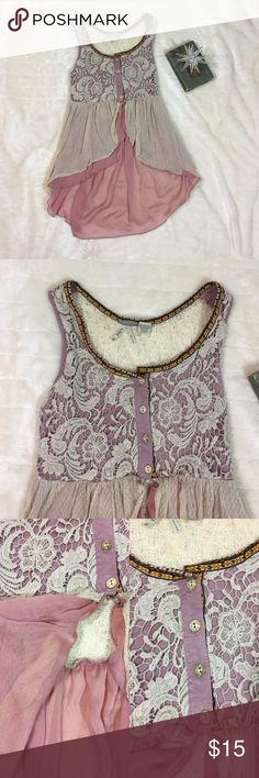 """High-lo bohemian tank top Crochet and lace accent tank top. 4 button bodice and flare out above waist. High low hem with mauve purple chiffon. Back is cream pointelle knit and not lined. Front bodice is lined with stretch knit. Bust 31"""" Gimmicks by BKE Tops Tank Tops"""