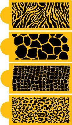 Animal Skin Set | Designer Stencils, i wanna make a giraffe print cake!
