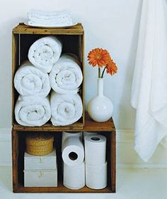 Wine Crate Storage- I like this idea for my bathroom. Now where to get wine crates. Linen Storage, Crate Storage, Storage Ideas, Towel Storage, Storage Solutions, Storage Boxes, Paper Storage, Easy Storage, Crate Shelves