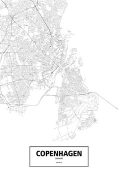 Copenhagen, Denmark poster - Routelines: detailed posters and prints of cities and their roads