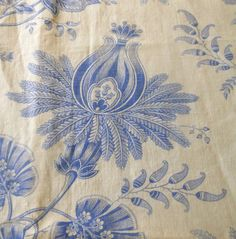 Antique19thc French Blue White Indienne Floral Cotton Linen Fabric ~