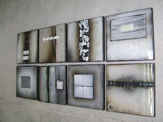"Textured fused glass wall mounted tiles -  ""Earth series"" 25x25cm each  M Beneke"
