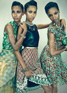 Wild pops of greens, bold prints and leather. Especially love the the third look. Photo: WMagazine.com, green summer dresses, tribal print dresses, patterned tribal dresses.